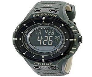 Timex Men's Expedition Shock T49612 Digital Compass Black / Olive Resin Strap Outdoor Watch